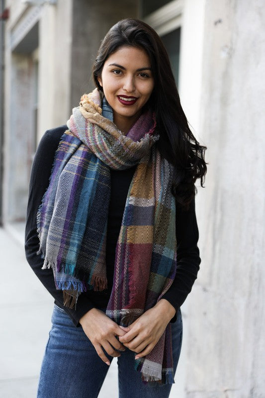 Oversized Plaid Scarf - Gift Shop Wrought 'n Apples