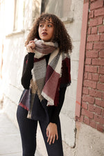 Plaid Waffle Knit Blanket Scarf - Gift Shop Wrought 'n Apples