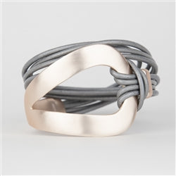 Rose Gold and Gray Leather Bracelet - Gift Shop Wrought 'n Apples