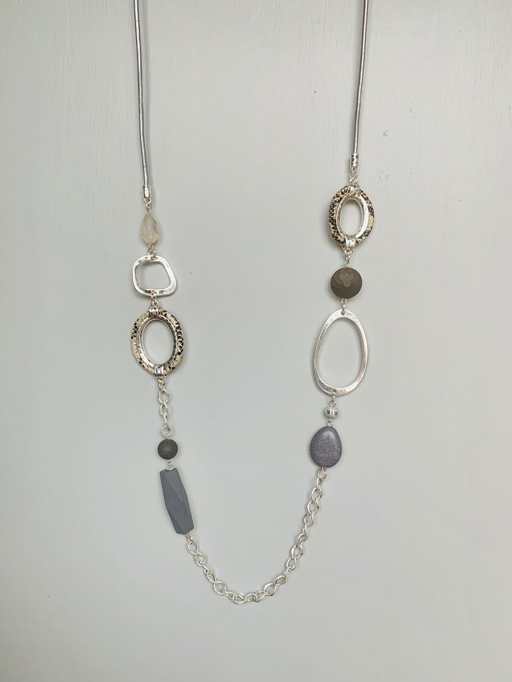 Silver & Grey Snakeskin Necklace - Gift Shop Wrought 'n Apples