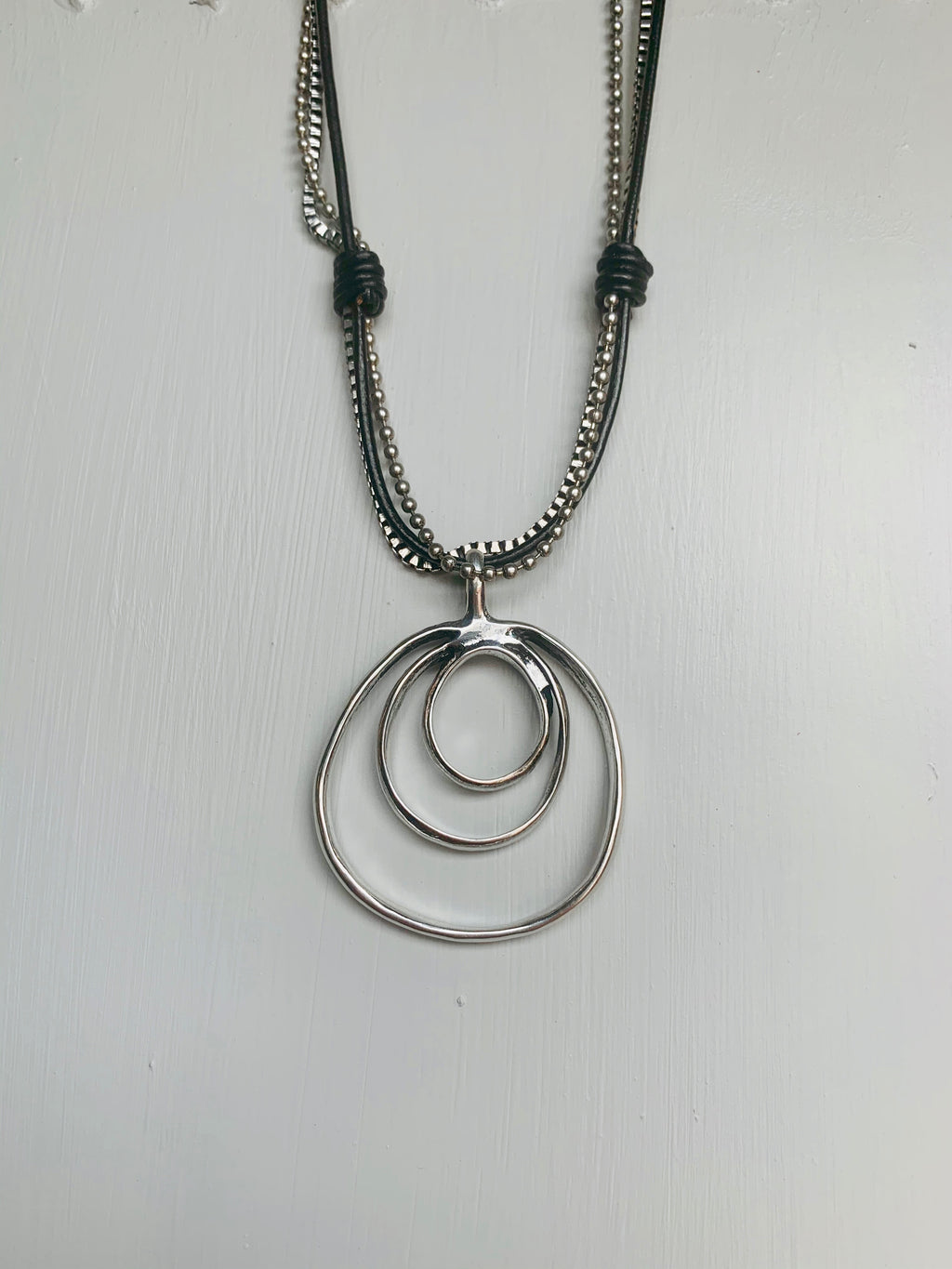 Silver & Black Leather Necklace - Gift Shop Wrought 'n Apples