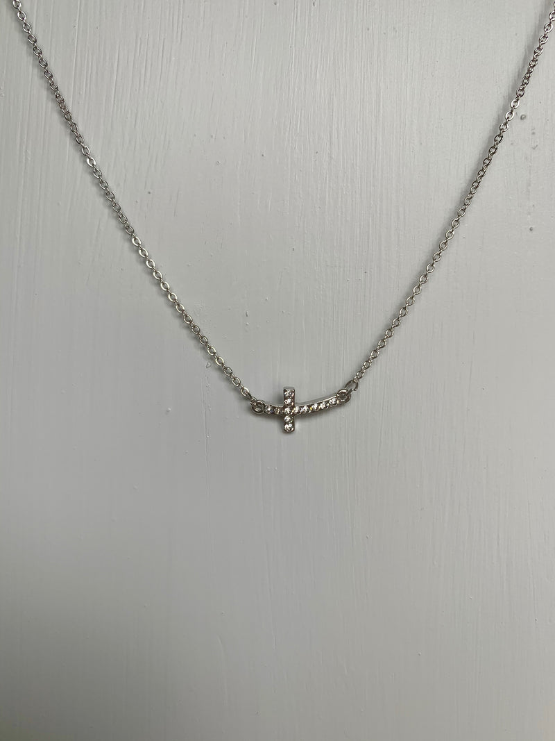 Silver Bling Cross Necklace - Gift Shop Wrought 'n Apples