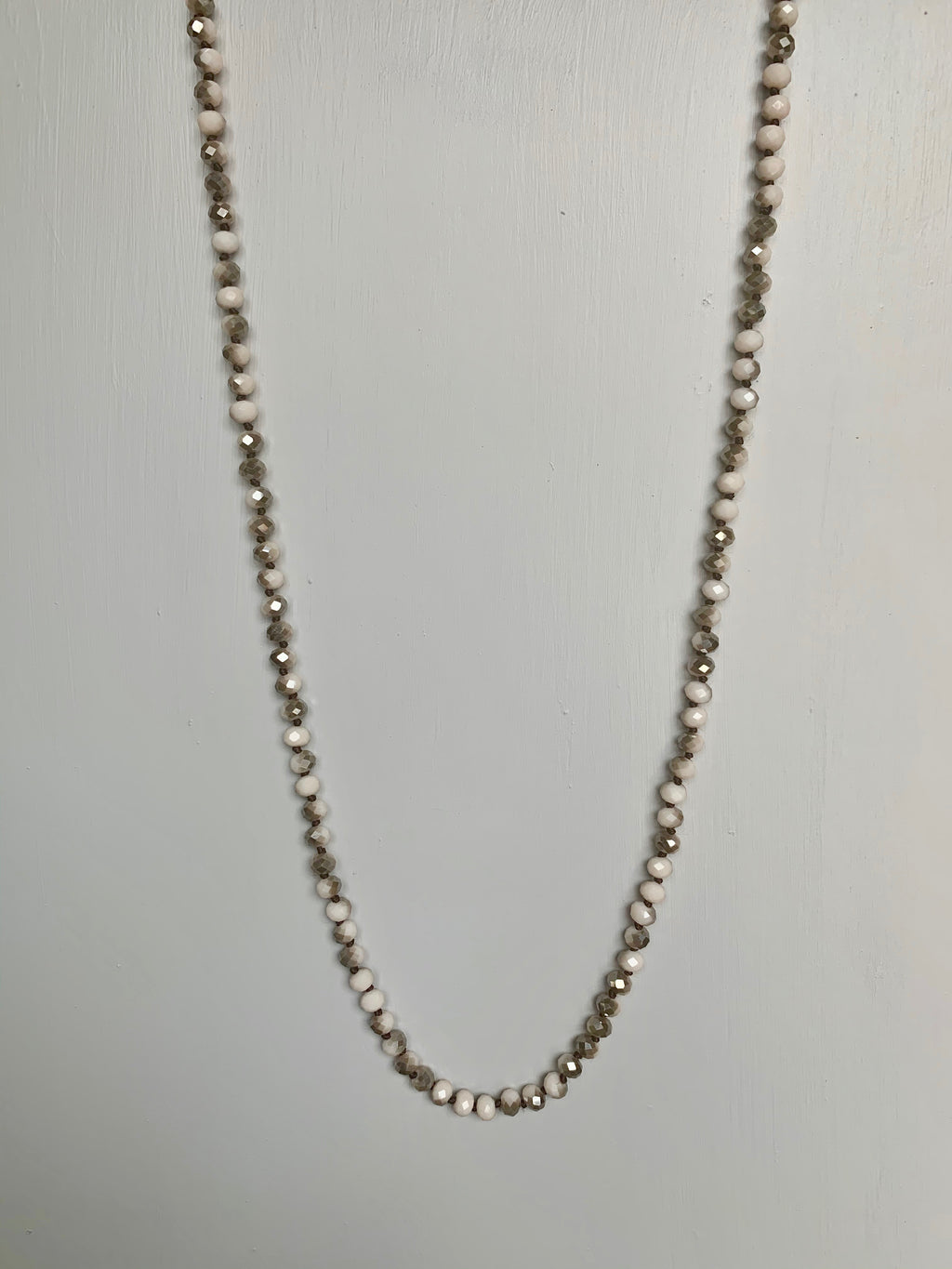 Cream, Pink & Grey Sparkle Beaded Necklace - Gift Shop Wrought 'n Apples