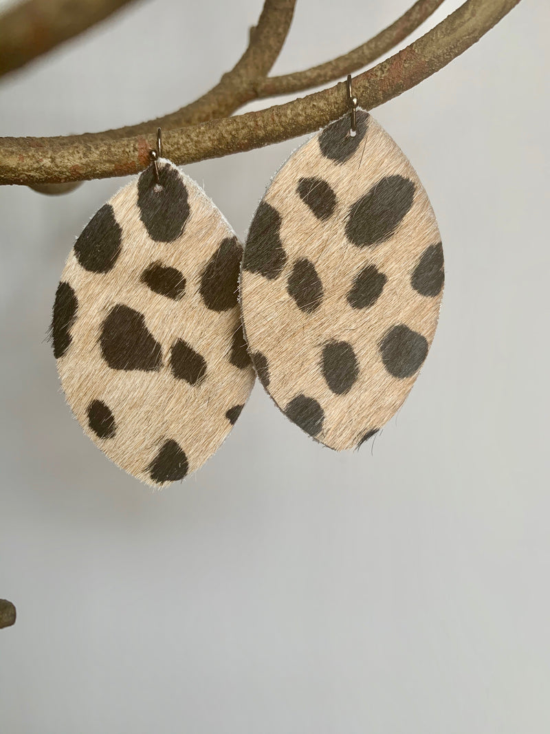 Leather Cheetah Print Earrings - Gift Shop Wrought 'n Apples