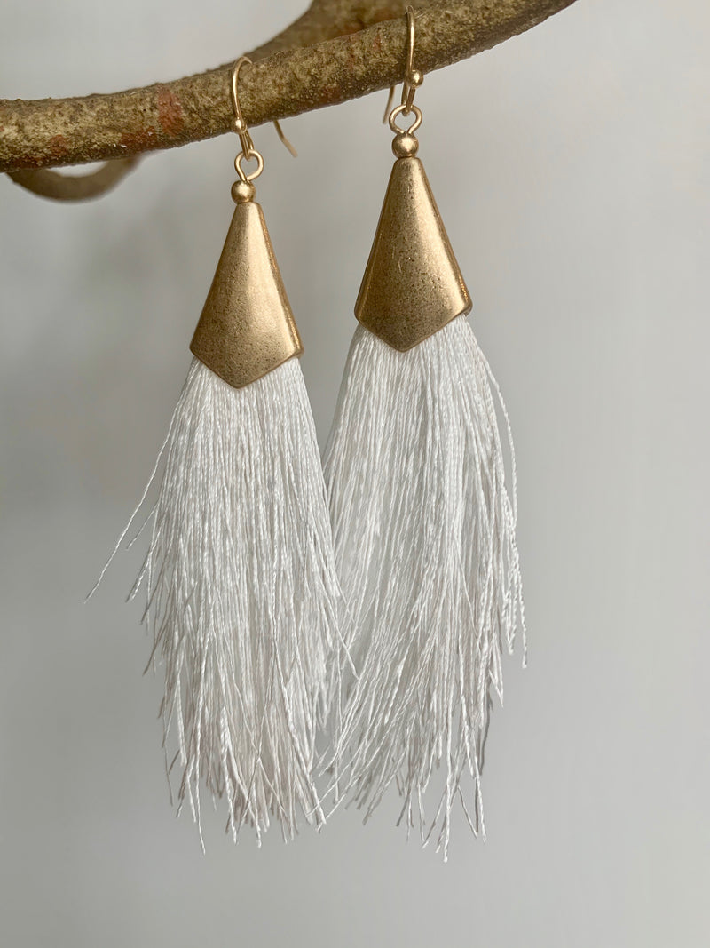 Gold & White Tassel Earrings - Gift Shop Wrought 'n Apples