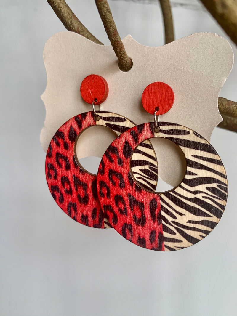 Lightweight Wooden Animal Print Earrings - Gift Shop Wrought 'n Apples
