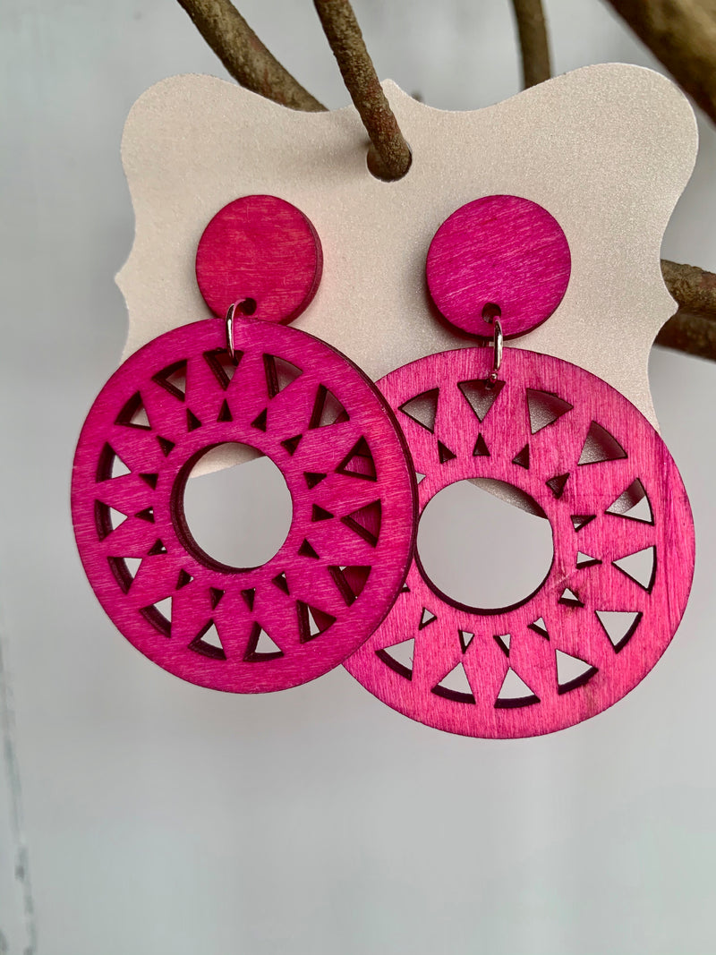 Lightweight Hot PInk Wooden Patterned Earrings - Gift Shop Wrought 'n Apples