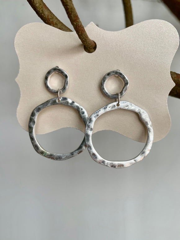 Silver Double Circle Earrings - Gift Shop Wrought 'n Apples