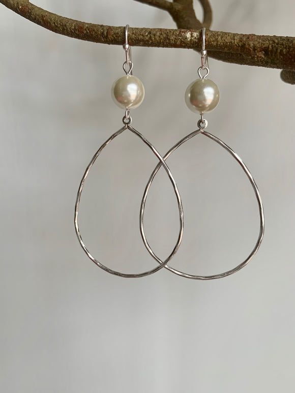 Pearl & Silver Teardrop Earrings - Gift Shop Wrought 'n Apples