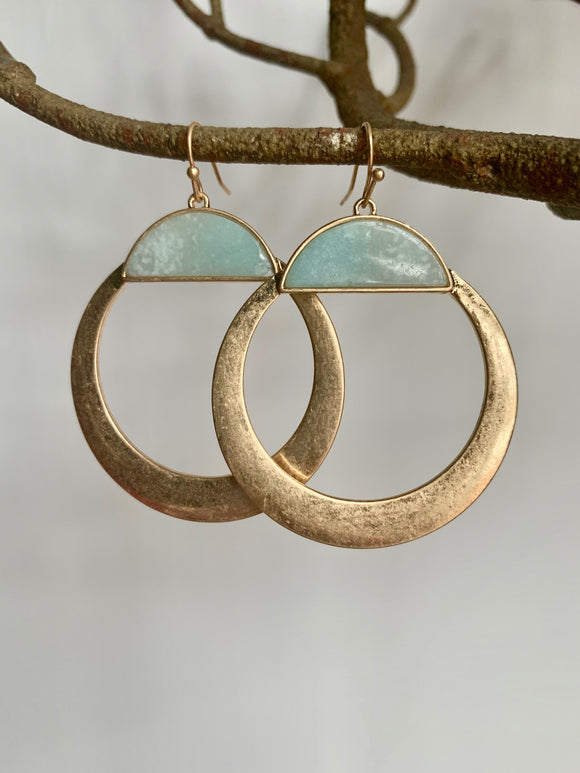 Gold & Blue Stone Earrings - Gift Shop Wrought 'n Apples