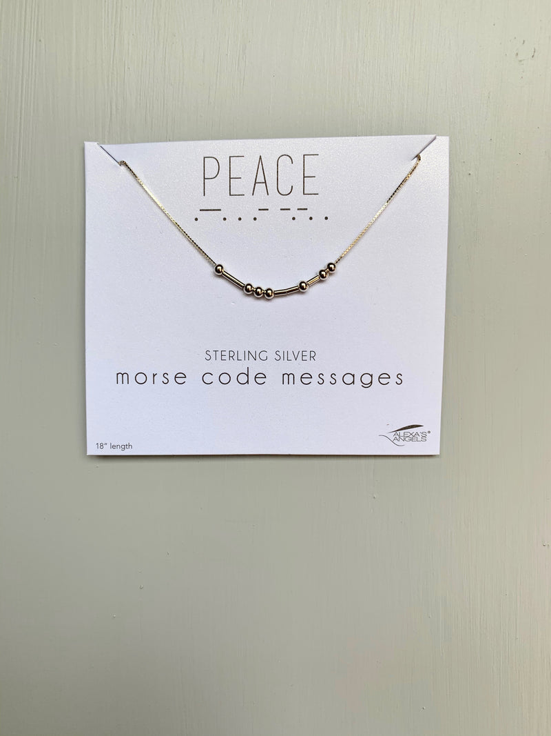 "Silver ""Peace"" Morse Code Necklace - Gift Shop Wrought 'n Apples"