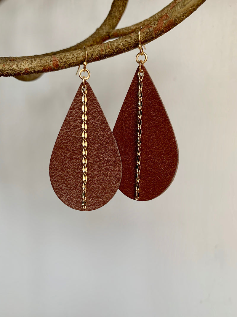 Leather Teardrop Earrings - Gift Shop Wrought 'n Apples