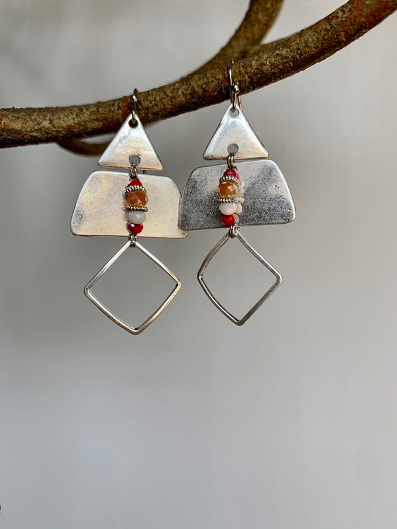 Silver & Orange Gem Earrings - Gift Shop Wrought 'n Apples