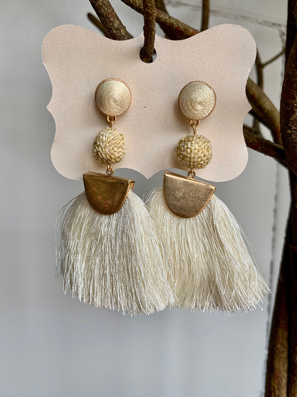 Cream & Gold Fringe Earrings - Gift Shop Wrought 'n Apples