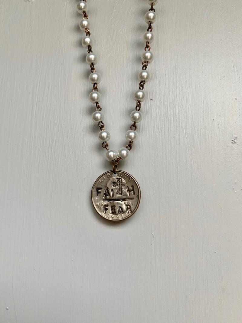 Pearl Faith over Fear Necklace - Gift Shop Wrought 'n Apples