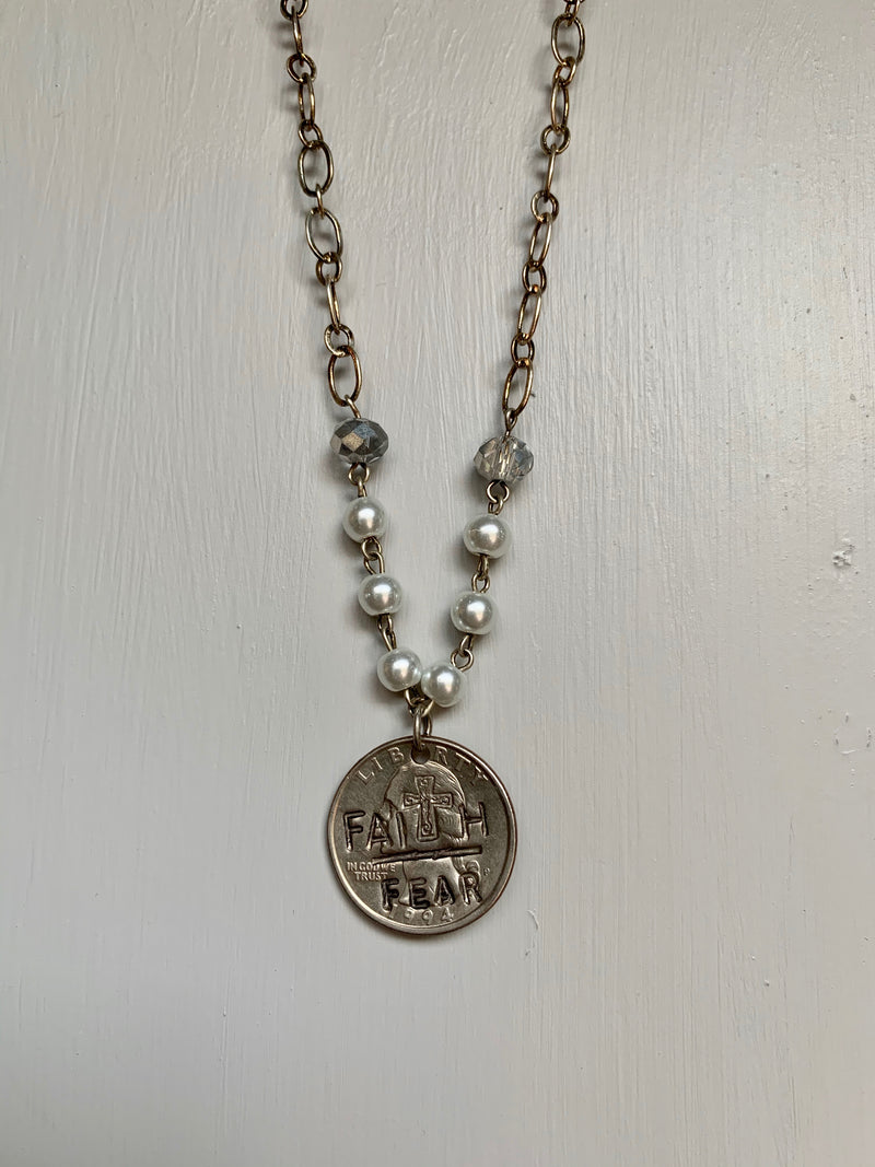 Silver & Pearl Faith over Fear Necklace - Gift Shop Wrought 'n Apples