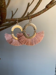 Fringe Pink and gold Earrings - Gift Shop Wrought 'n Apples