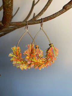 Fringe Multi Color and gold Earrings - Gift Shop Wrought 'n Apples