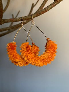 Fringe Orange and Gold Earrings - Gift Shop Wrought 'n Apples