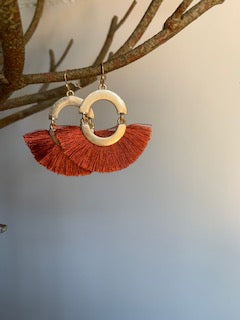 Fringe Burnt Orange and Gold Earrings - Gift Shop Wrought 'n Apples