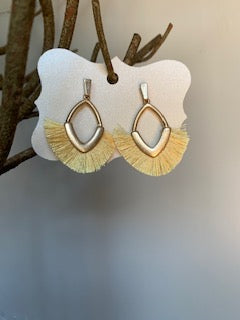 Fringe Yellow and Gold Earrings - Gift Shop Wrought 'n Apples