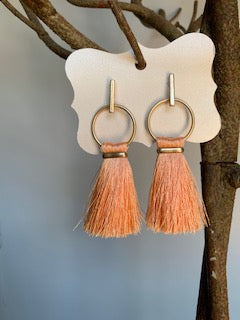 Fringe Peach and Gold Earrings - Gift Shop Wrought 'n Apples