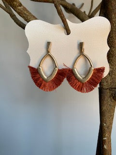 Fringe Rust and Gold Earrings - Gift Shop Wrought 'n Apples