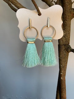 Fringe Mint and Gold Earrings - Gift Shop Wrought 'n Apples