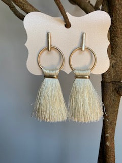 Fringe Cream and Gold Earrings - Gift Shop Wrought 'n Apples