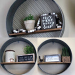 3 set metal and wood circle shelves - Gift Shop Wrought 'n Apples