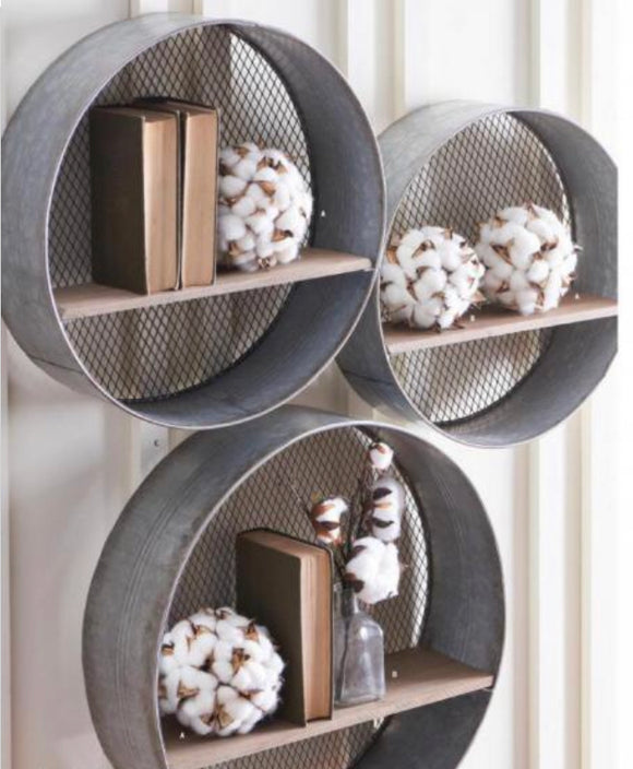 3 set metal and wood circle shelves