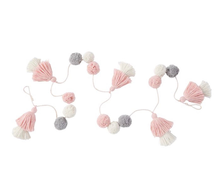 Pink, White and Gray Pom-pom tassel Garland - Gift Shop Wrought 'n Apples
