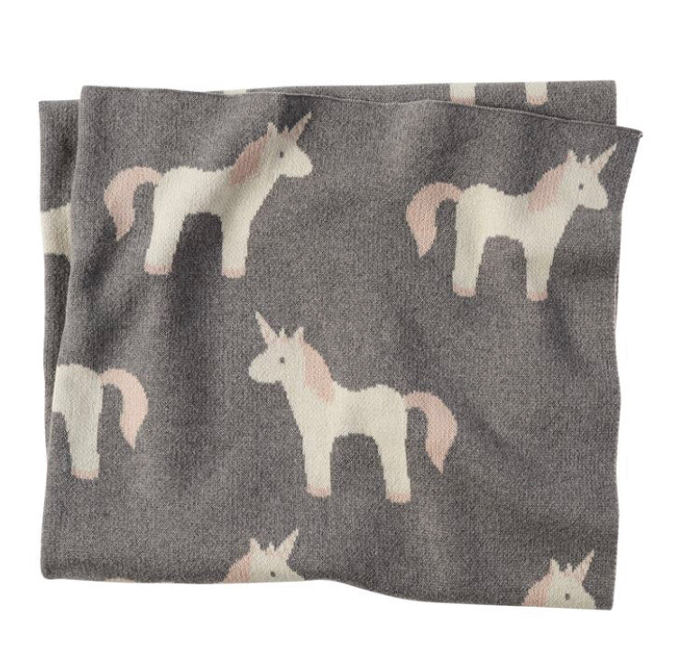 "Unicorn Blanket Cotton 40""x34"" - Gift Shop Wrought 'n Apples"