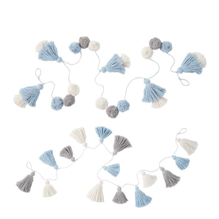 Blue, White and Gray Pom-pom tassle Garland - Gift Shop Wrought 'n Apples