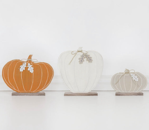 "Set of 3 Wooden Pumpkins 13"", 11"", 6.5"" - Gift Shop Wrought 'n Apples"