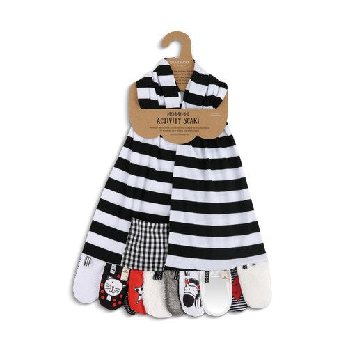 Mommy and Me Activity Scarf Black and White - Gift Shop Wrought 'n Apples