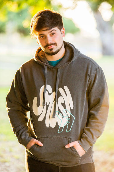 Damien Haas from Smosh wearing Smosh Groovy Hoodie with puff ink