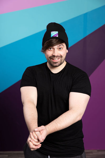Damien Haas from Smosh wearing Try Not to Laugh Beanie