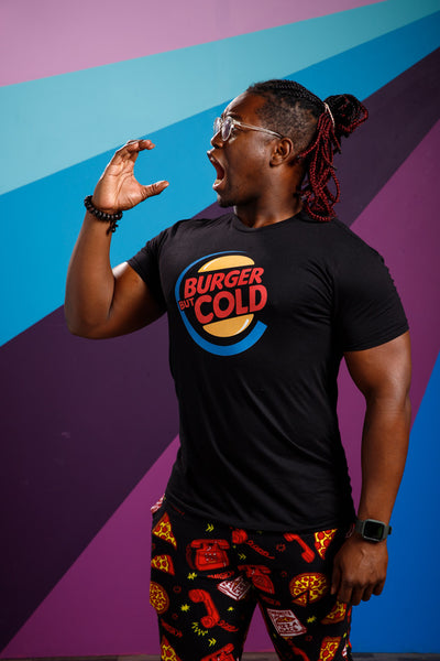 Ify Nwadiwe from Smosh wearing Burger But Cold Parody Tee