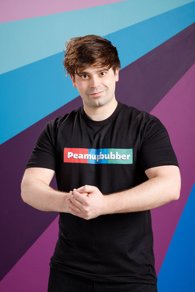 Damien Haas from Smosh wearing Black Peamupbubber Parody Tee