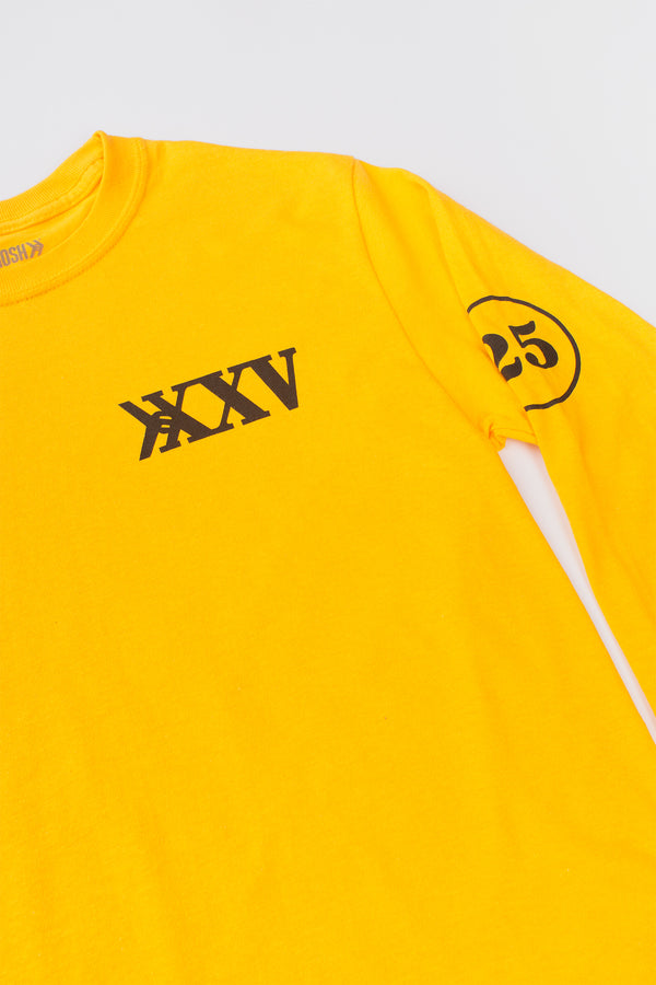 Official Smosh merch 25 Million Subscribers yellow long-sleeve tee detail shot