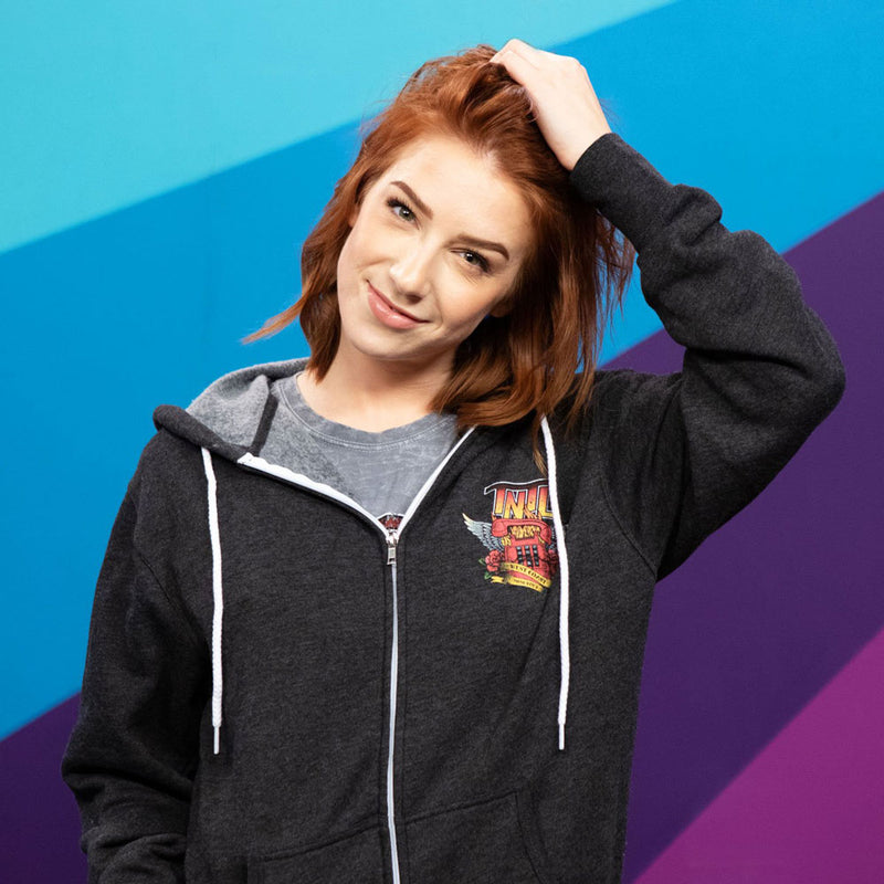 Courtney Miller from Smosh wears Try Not to Laugh Tour Hoodie