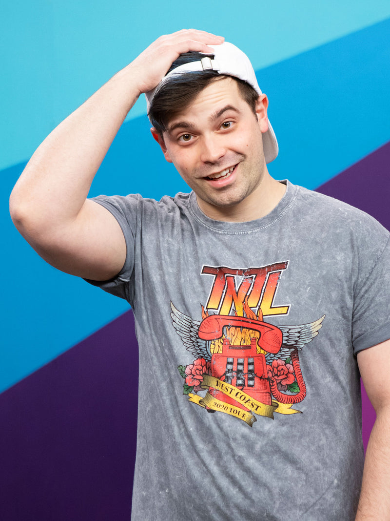 Damien Haas from Smosh wears Try Not to Laugh Tour Tee