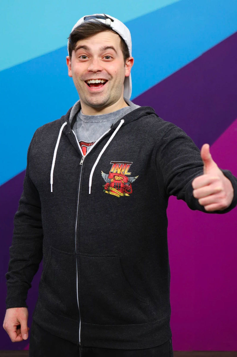 Damien Haas from Smosh wears Try Not to Laugh Tour Hoodie
