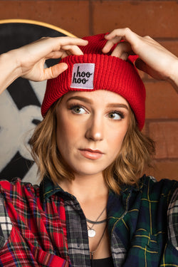 Courtney Miller wearing Smosh merch - Hoo Hoo Beanie in Red