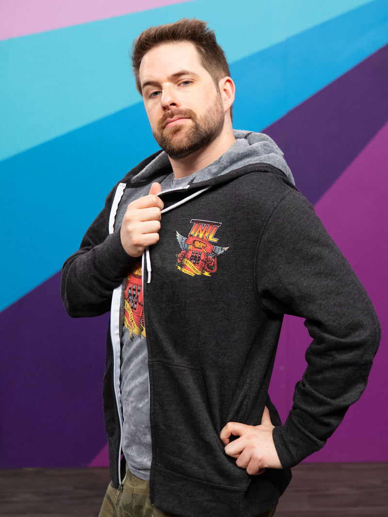 Ian Hecox from Smosh wears Try Not to Laugh Tour Hoodie
