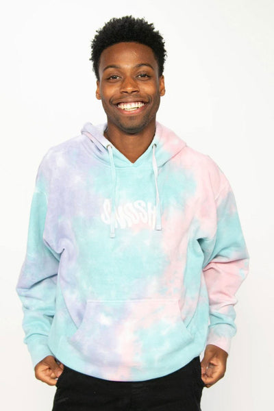 Keith from Smosh wearing Tie Dye Hoodie with warped Smosh logo
