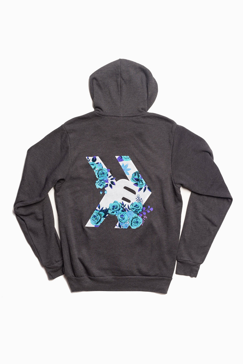 Smosh's Dark Heather Gray Floral Logo Hoodie (Back)