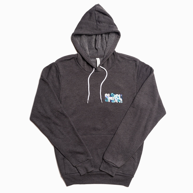 Smosh's Dark Heather Gray Floral Logo Hoodie (Front)