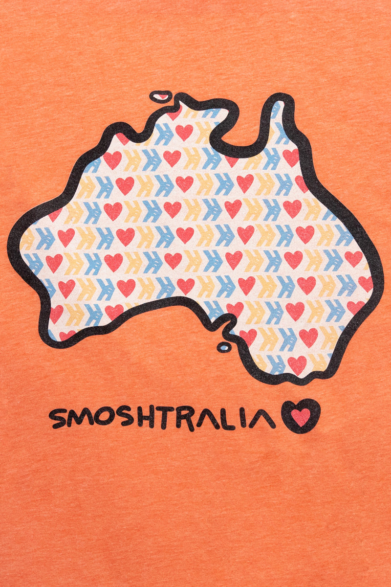 Official Smosh Merch. Detail shot of design for Smoshstralia short-sleeved tee.